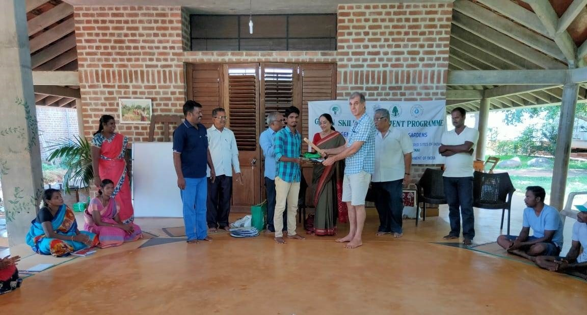 Dr. Nanditha Krishna, Honorary Director of CPREEC distributing the Course Completion Certificate