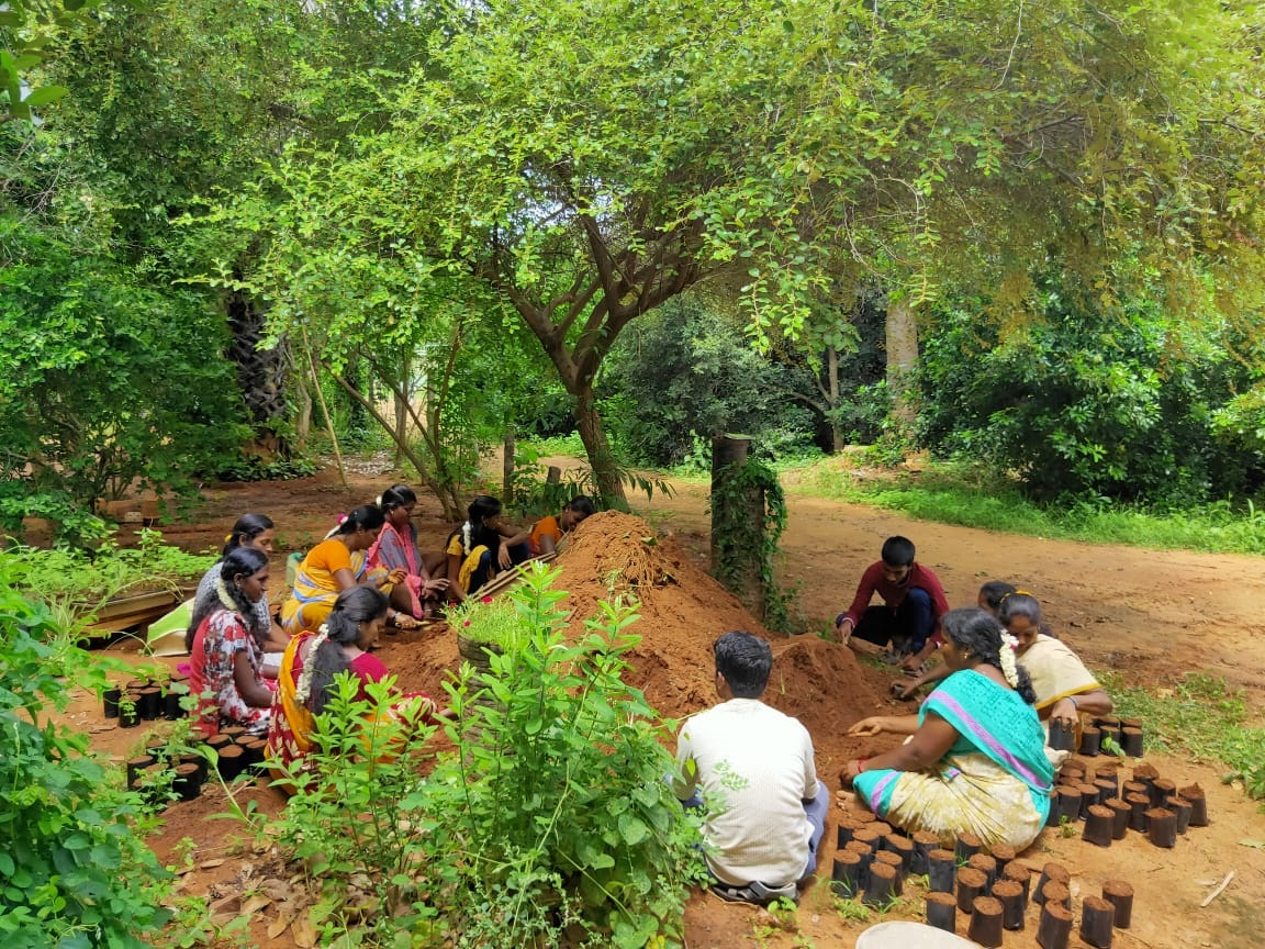 Practical session on soil preparation by participants